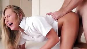 Hot blonde chick is bending and pissed with the protruding hard cock