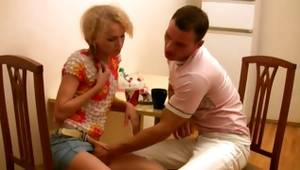 Bright-haired exasperating slut is getting her fondled by the debauched dude