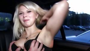 Blonde floosie got her tits pressed