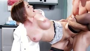 Fabulous dark-haired nurse messed up in charming beaver