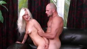 Disobedient blondie got punished by baldheaded hunk