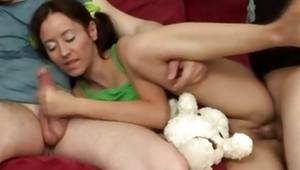 Steamy brunette is getting used by those 2 really aroused fellas deep