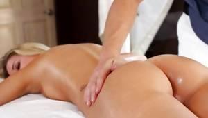 Blonde beau got her back massaged precious
